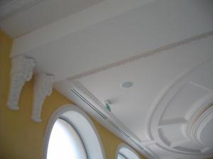 Détail d'un caisson de plafond cintré démontable et ovale, Hôtel Princesse Flore de Royat