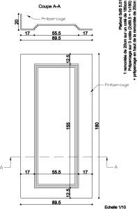 Plan de coupe d'un caisson de plafond, Hôtel Princesse Flore de Royat (63)