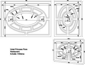 Plan plafond réalisé pour le restaurant, Hôtel  Princesse Flore de Royat (63)